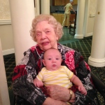 Isaac with his great-grandmother, Miriam Beeson. There is a 91 year difference between them!  Together they represent one Biblical generation.